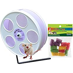 Mouse Wheel: 8 inch Transoniq Wodent Wheel Junior, White with Lavender Track and Ware Rice Pops-Small Animal Treat