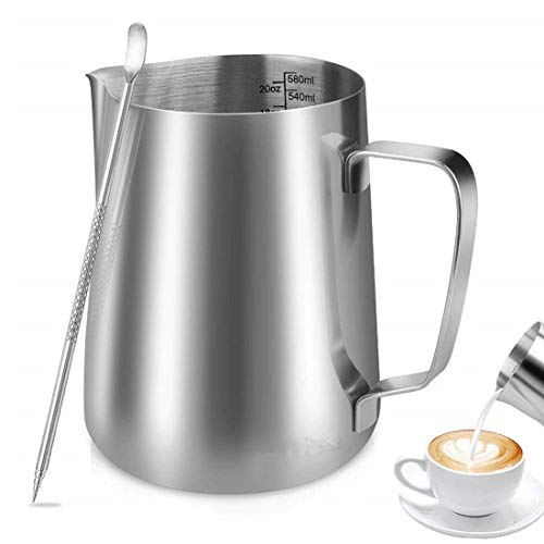 Espresso Steaming Pitcher,Coffee Milk Frothing Cup,Coffee Steaming Pitcher with a barista pen for cappuccino and latte (Shiny silver, 600 ml)