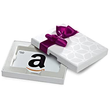 Amazon.com $50 Gift Card in a White Gift Box (Classic White Card Design)