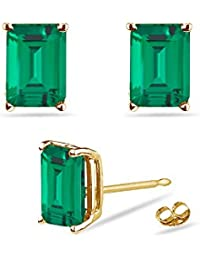 1.64-1.88 Cts of 7x5 mm AAA Emerald-Cut Russian Lab Created Emerald Stud Earrings in 14K Yellow Gold