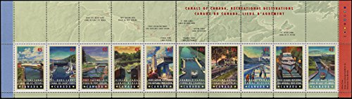 Stamp Booklet Pane (Canada Scott 1734a 45c Canals of Canada Se-tenant Booklet pane of 10 plus 10 labels. Mint never hinged.)