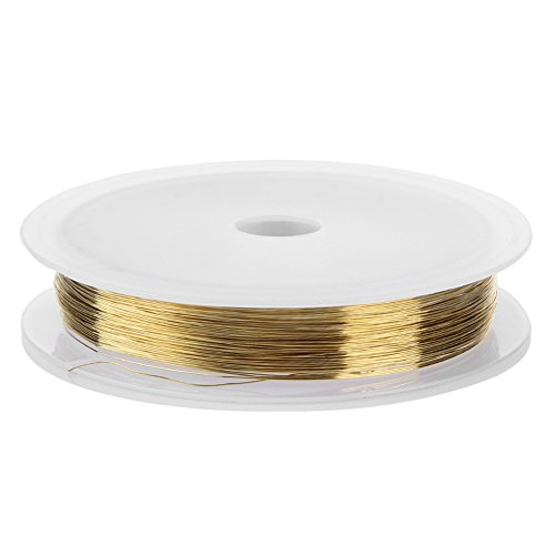 Jocestyle 1 Roll 0.2mm Copper Craft Wire for Nail Art Manicure Decor Crafts Beading Jewelry Making (Gold) (0.2 Mm Wire)
