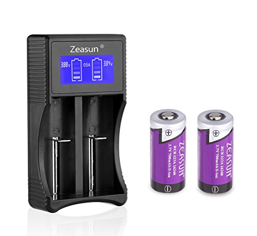 RCR123A Batteries for Arlo Wireless Security Cameras(VMC3030/VMK3200/VMS3330/3430/3530), With LCD Smart Charger Zeasun Rechargeable Cr123a Batteries,3.7V,700mAh,2 Pack