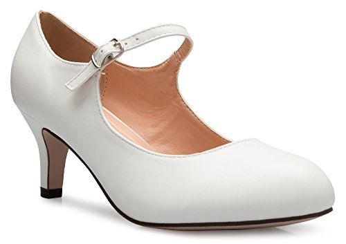 - OLIVIA K Womens Classic Low Mid Heels Mary Jane Pumps - Adorable Round Toe Vintage Retro Shoes