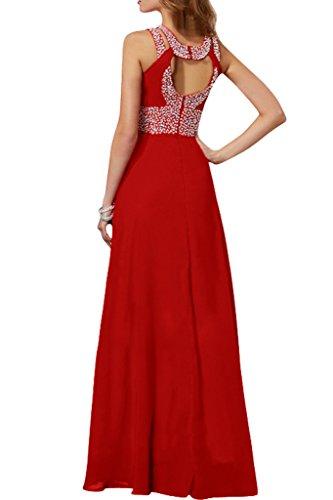 Chiffon Linie Damen Beliebt A Abendkleid Lang Ivydressing Rot Promkleid Festkleid Steine Schlitz X7B0xdqa