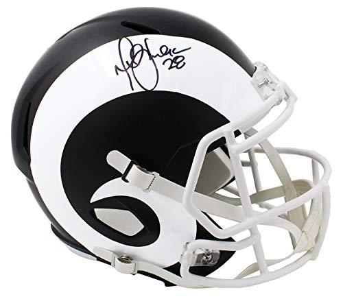 (Marshall Faulk Signed Rams Flat Black Matte Riddell Speed Full Size Replica Helmet)