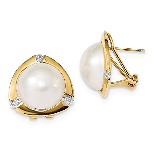 14k Yellow Gold 12-13mm White Mabe FWC Pearl .06ct Diamond Omega Back Earrings (0.06ct H/SI2) (14k Yellow Pearl Mabe Gold)