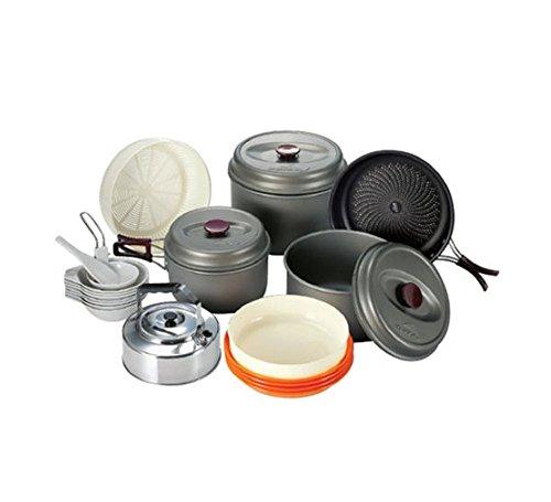 Kovea Outdoor Indoor Camp Kitchen Camping Hiking Equipment Kitchen Dining Bar Cookware Camping Pots Pans Set Aluminum Matte 24p 7-8 People