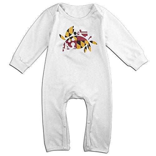 Ervyn Newborn Bodysuit Crab Cake Maryland Flag Baby Onesie Romper 6 Months White