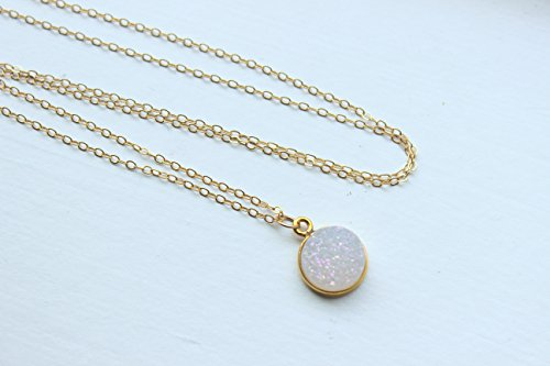 White Druzy Necklace 18