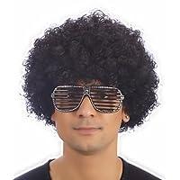 Curly Afro Wigs Fancy Dress Funky Wig Disco Clown Mens/Ladies Unisex 11 Colours (Black)