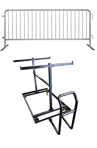 8 Foot or 2.5 Meter Galvanized Steel Crowd Control Barricades with Flat Bases & Steel Barrier Storage / Push Cart | 30 Steel Barricades & 1 Push Cart by Epic