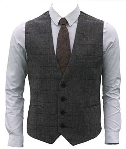 �4ButtonsWoolHerringbonePlaid Business SuitVest (M, Grey) ()