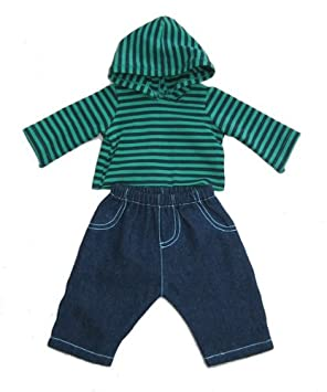 70b3ec3f57ac Boy Dolls Clothes - Blue Jeans and Stripey Top. Sizes to Fit 16 inch ...
