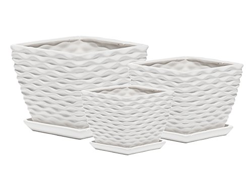 Ceramic Plant Pot - Indoor Garden Flower Planter Pots with Saucers, 4 5 6 Inch Set of 3 (White Square ()