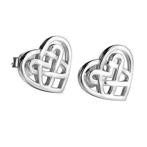 (LUHE Sterling Silver Celtic Triquetra Knot Stud Earrings (Heart))