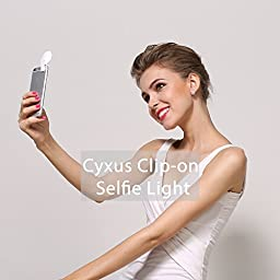 Cyxus Clip-on Selfie LED Light [3 Level Brightness] Portable Fill Mini Night Using For Any Cell Phone Apple iPhone 6/6s/5s/5 Plus (Pink)