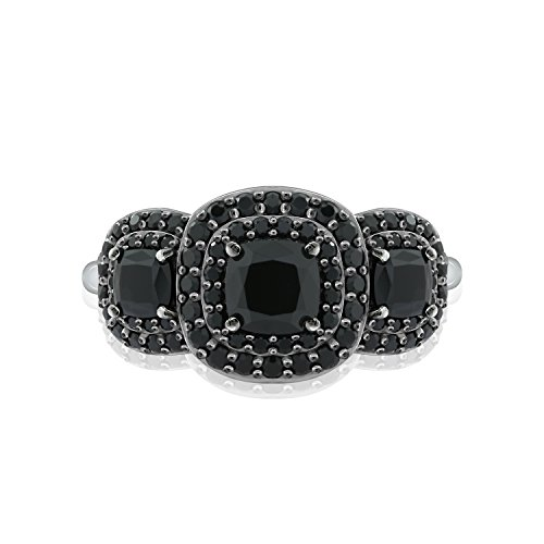 DIAMONBLISS Sterling Sliver 2.00 ct tw Cushion Cut Black Spinel 3-Gem Stone Ring (Black Spinel Gem)