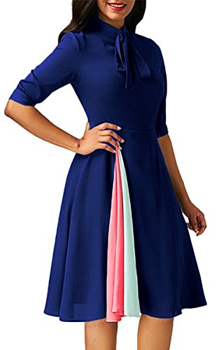 Length Sleeve Tie (Angashion Womens Vintage Pleated Half Sleeve Tie Neck Patchwork Knee Length Swing Skater Dress)