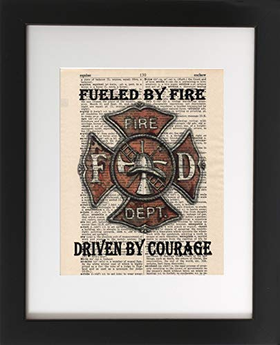 Firefighter - Upcycled Dictionary Art Print 8x10. - UNFRAMED - Frame and matting are for presentation purposes only to show you how they can look. Fireman Art.