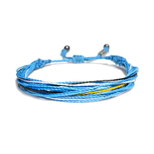 RUMI SUMAQ Argentina Soccer Bracelet in Flag Colors Blue, White, Black and Yellow for Men and Women with Hematite Stones