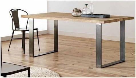 Mesa de comedor OAK 160 cm - ROBLE MACIZO - Patas Acero ...