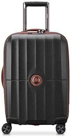DELSEY Paris St. Tropez Hardside Expandable Luggage with Spinner Wheels, Black, Checked-Medium 24 Inch
