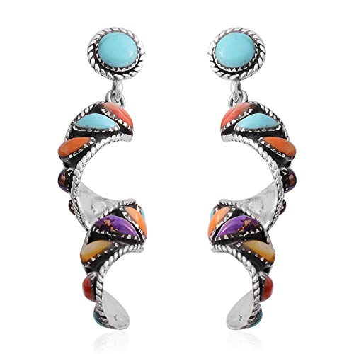 Vintage Curve Twisted Multi Color Dangle Drop Swirl Earrings 925 Sterling Silver Turquoise Southwest Jewelry for Women