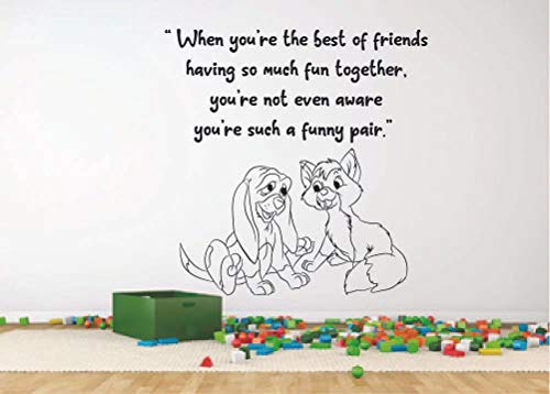 Amazon Com Lady And The Tramp Dogs Quote Disney Cartoon Quotes Wall Sticker Art Decal For Girls Boys Room Bedroom Nursery Kindergarten House Fun Home Decor Stickers Wall Art Vinyl Decoration Size 40x40