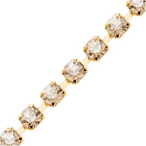 (Swarovski Elements Gold Plated Rhinestone Cup Chain 24PP Golden Shadow - by FT.)