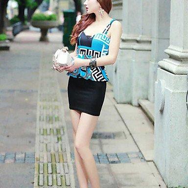 PU&PU Robe Aux femmes Moulante Simple,Imprimé A Bretelles Mini Polyester , blue , one-size