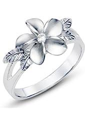 925 Sterting Silver Plumeria Cubic Zirconia CZ w/ Maile Leaf Hawaiian Flower Band Ring