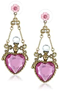 "Betsey Johnson ""Fairyland"" Crystal Heart Bottle Drop Earrings"