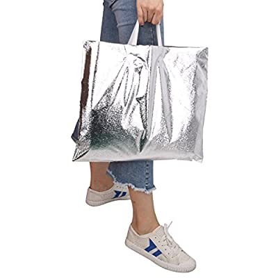 "Rumcent Merchandise Bags,Retail Clothing Grocery Boutique Shopping Bags with Handles,Christmas Gift Bag, Size 15.7"" x 14.2"", Set Of 50 - Silver"