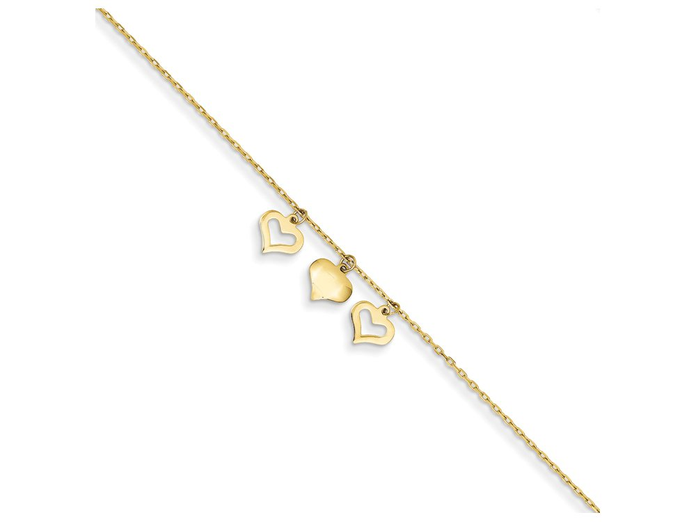 Finejewelers 10 Inch 14k Yellow Gold 3 Hearts W/1 Inch Extension Anklet