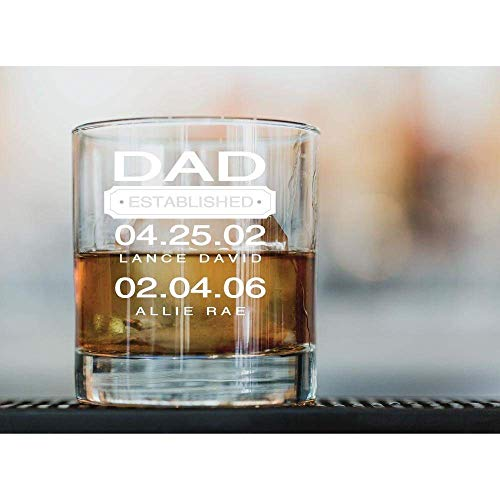 Dad Whiskey Glass Gift, Personalized Scotch Glass for Father's Day