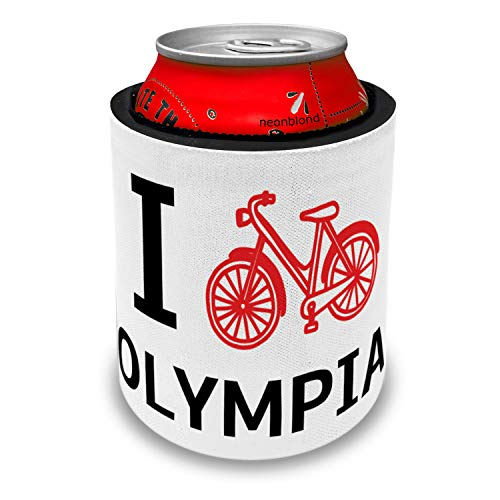 NEONBLOND I Love Cycling City Olympia Slap Can Cooler Insulator Sleeve -