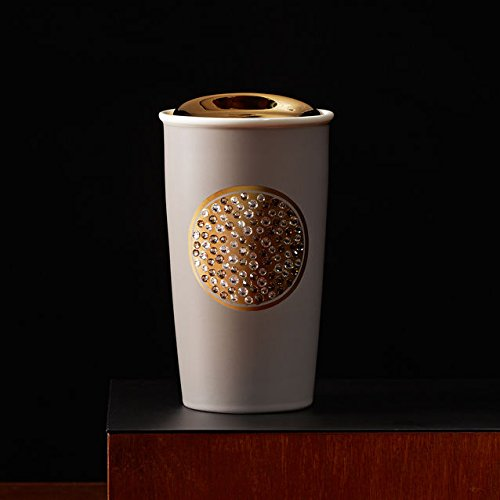 Starbucks Anniversary Double Wall Traveler 12 Fl Oz Limited Edition Travel Mug Embellished with Swarovski Crystals and Gold Accents by Starbucks