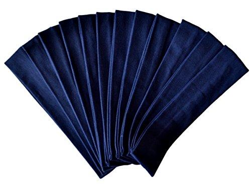 1 DOZEN 2 Inch Wide Cotton Stretch Headbands OFFICIAL FUNNY GIRL DESIGNS HEADBANDS (Official Funny Girl Navy Blue) ()