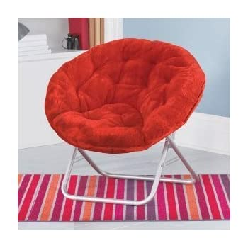Genial Plush Padded Moon Saucer Chair In Red