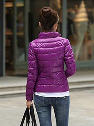 Ultraligero Outwear Sólido Violett Color Invierno Mujer Otoño Fashion Elegantes Fit Larga Manga Abrigos Empacable Cuello Battercake Mujeres Casuales Pluma Slim Plumas Stand Corto HOwqBExE