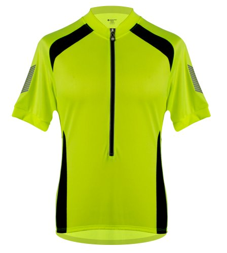AERO|TECH|DESIGNS Mens Elite Coolmax Cycling Jersey - Made in the USA (Large, Safety Yellow)