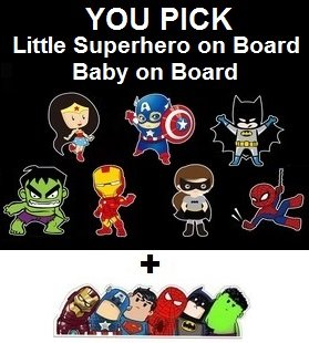 Baby on Board or Superhero on Board Reflective Safety Car Sign + FREE Superhero Bumper Sticker, New Baby, Child Gift, Present, Baby Shower