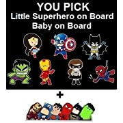Baby on Board or Superhero on Board Reflective Safety Car Sign + FREE Superhero Bumper Sticker, New Baby, Child Gift, Present, Baby Shower (Baby on Board, Hulk)