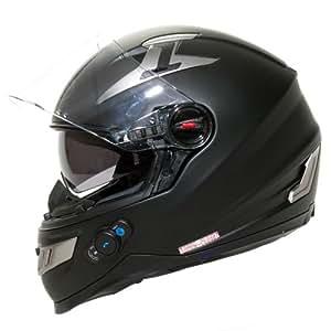 BILT Techno Bluetooth Full-Face Motorcycle Helmet - 2XL, Matte Black