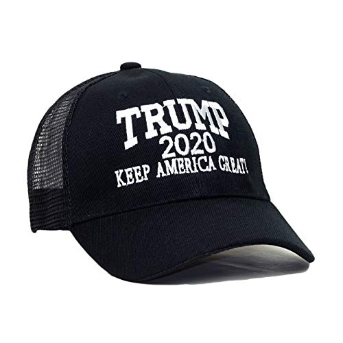 - Trump 2020 Keep America Great Embroidery Campaign Hat USA Baseball Cap (Mesh- Black)