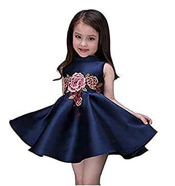 Blue Satin Casual Dress For Girls
