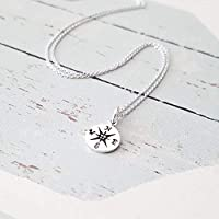 Simple Sterling Silver Small Compass Charm Necklace 18""