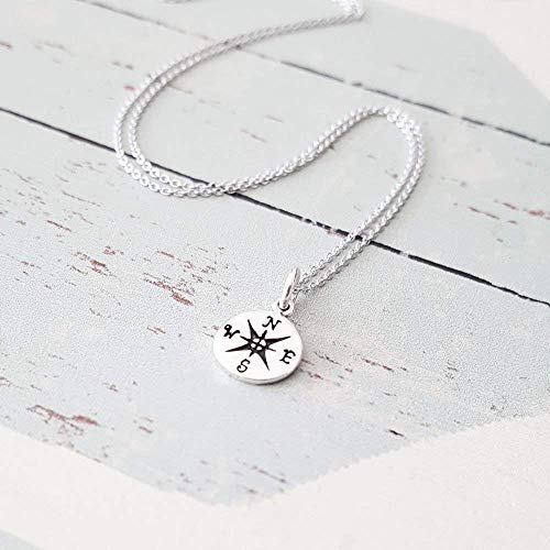 (Simple Sterling Silver Small Compass Charm Necklace)