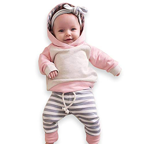 Yaffi Infant Boys Girls Bodysuit Set 3-Piece Cute Color Blocked Striped Hoodie + Tie-up Pants + Headband 3-6 Months Pink